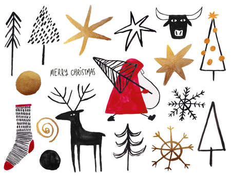 Set of gold, red and black gouache painted Christmas elements - santa, tree, deer, sock, snowflake. Stock Photo