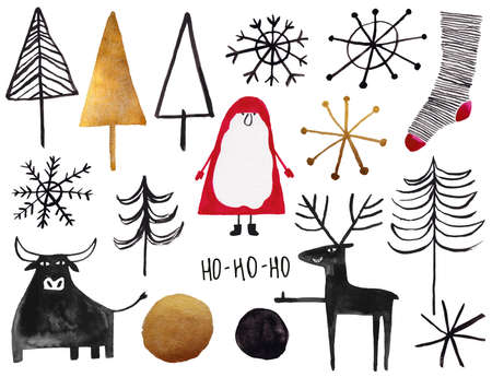Set of gold, red and black gouache painted Christmas elements - santa, tree, deer, bull, sock, snowflake. Stock Photo