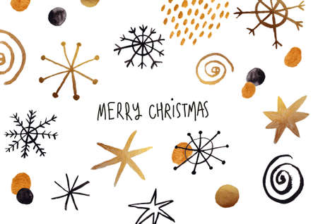 Funny Christmas greeting card with abstract black and gold snowflakes. Gouache painted. Stock Photo