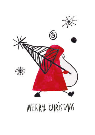 Christmas greeting card with funny santa carrying holiday tree. Simple Scandinavian design.