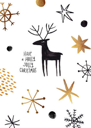 Christmas greeting card with funny black moose and abstract snowflakes. Simple Scandinavian design.