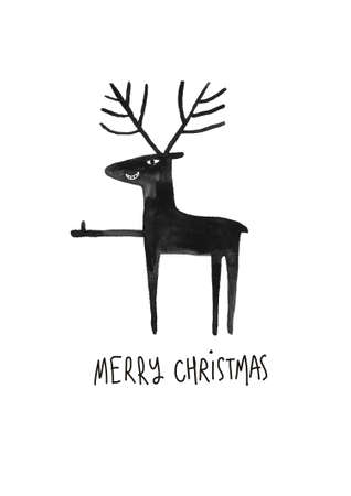 Christmas greeting card with funny black moose or deer. Simple Scandinavian design. Stock Photo