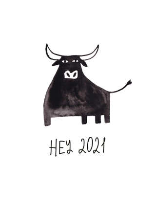 New year greeting card with symbol of the 2021 - Bull. Simple Scandinavian design. Stock Photo