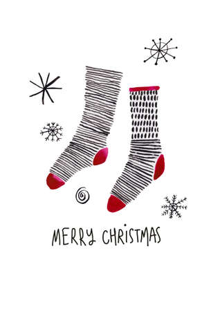 Greeting card with funny pair of Christmas socks. Simple Scandinavian design.