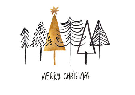 Christmas greeting card with black and gold gouache painted trees. Simple Scandinavian design. Stock Photo
