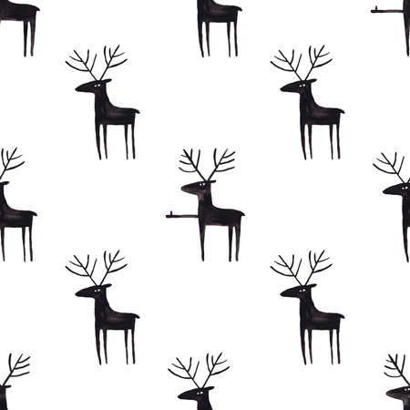 Funny seamless pattern with gouache painted black moose on a white background. Simple Scandinavian design.