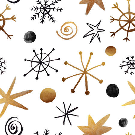 Winter seamless pattern with gold and black gouache painted snowflakes on a white background. Christmas wrapping paper. Stock Photo