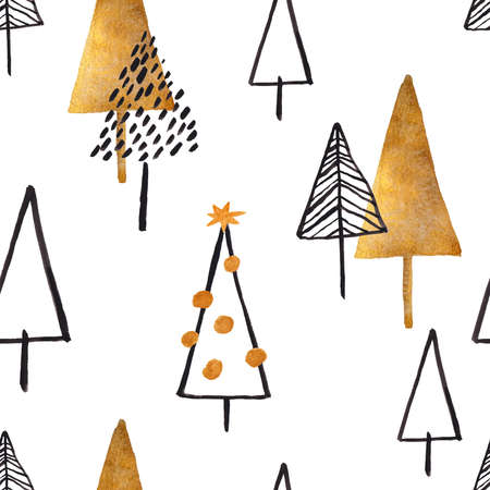 Christmas seamless pattern with black and gold trees on a white background. Simple Scandinavian design.