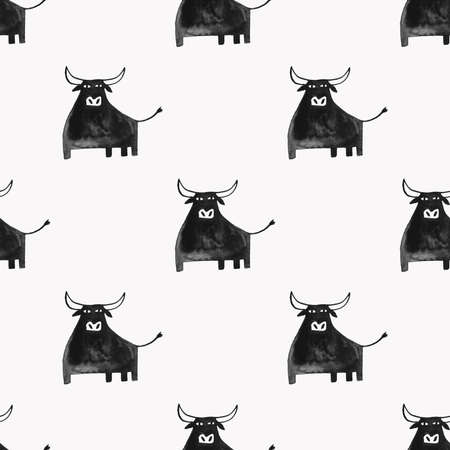 Abstract seamless pattern with funny black bull on a white background. Symbol of the 2021 new year
