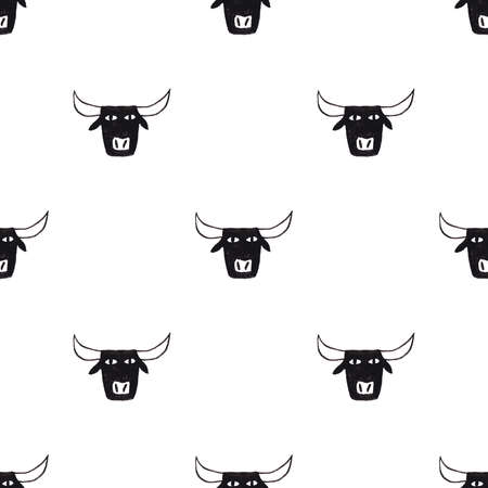 Abstract seamless pattern with funny black bull head on a white background. Symbol of the 2021 new year
