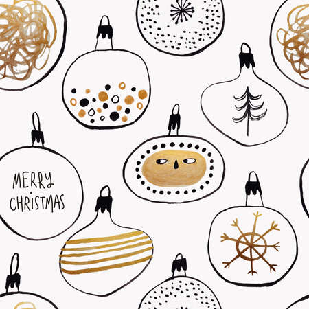 Abstract seamless pattern with funny Christmas tree balls. Gold and black gouache painted wrapping paper.