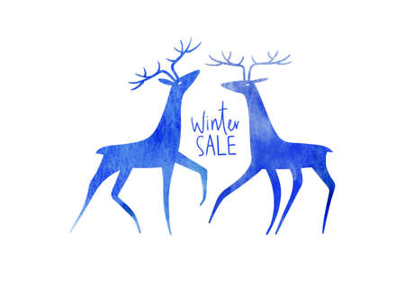Christmas card with watercolor deers and text - winter sale. Simple Scandinavian design.