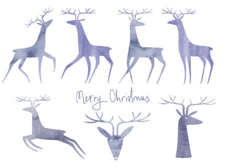 Collection of isolated watercolor deer illustrations. Simple scandinavian design.
