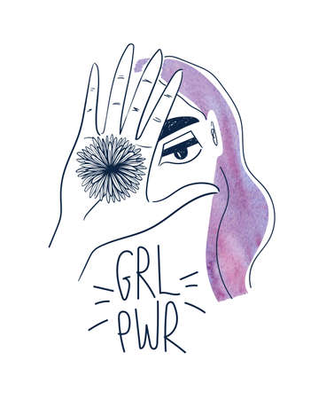 Woman with watercolor purple hair and hand holding flower. Creative girl portrait with lettering - grl pwr. Female t-shirt design.
