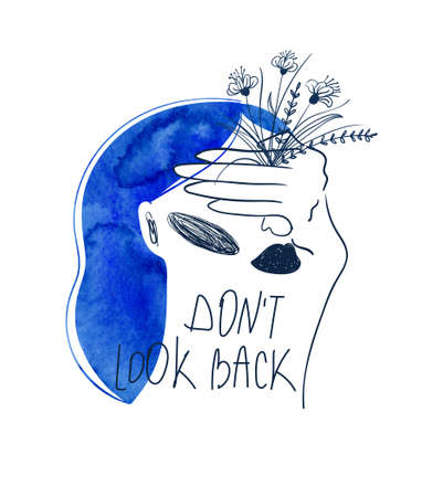 Woman with watercolor blue hair and a hand closing her eyes. Bizarre girl portrait with text - don't look back. Female t-shirt design.
