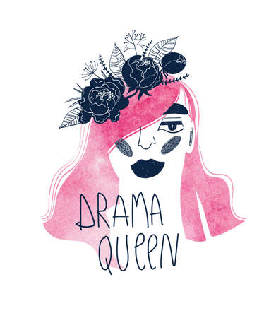 Woman with floral wreath on a watercolor pink hair. Creative girl portrait with lettering - drama queen. Female t-shirt design.