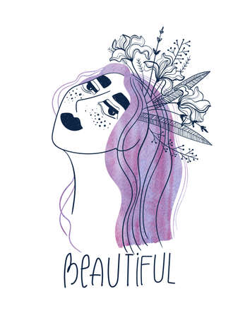 Woman with watercolor purple hair and iris flowers. Creative girl portrait with text - beautiful. Female t-shirt design.