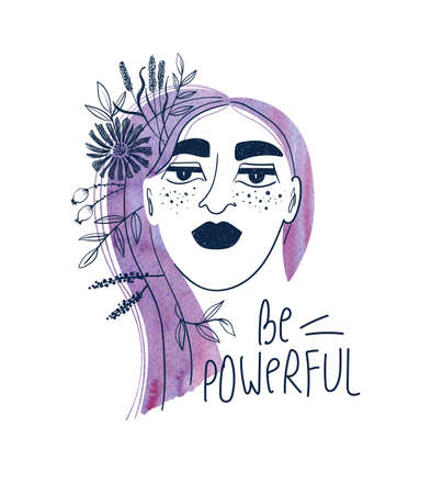 Woman with watercolor purple hair and flowers. Creative girl portrait with text - be powerful. Feminist t-shirt design.