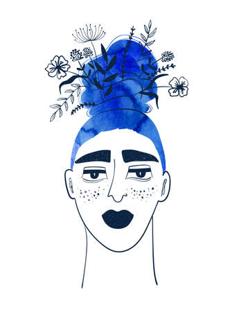 Woman with watercolor blue hair and flowers in the bun. Creative girl portrait. Female t-shirt design.