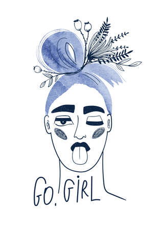 Woman with watercolor blue hair and wildflowers. Bizarre portrait of winking girl shows tongue and text - go, girl. Female t-shirt design.