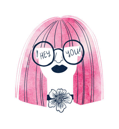 Woman with watercolor pink hair and glasses. Creative girl portrait with text - hey, you. Female t-shirt design. Stock Photo