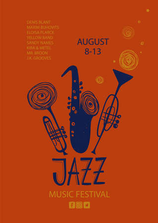 Colorful jazz poster with cartoon trumpets and saxophone. Creative musical flyer design template.
