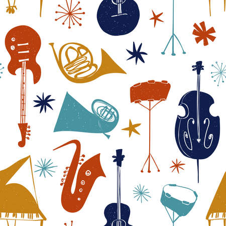 Funny seamless pattern with colorful musical instruments on a white background. Abstract music collection. Illustration