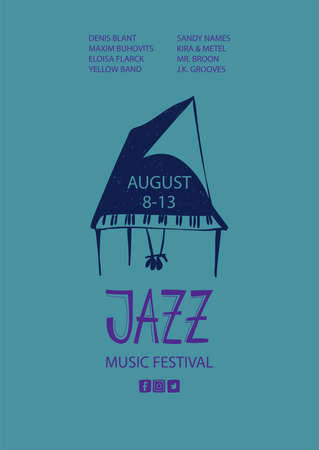 Colorful jazz poster with cartoon piano. Creative musical flyer design template.