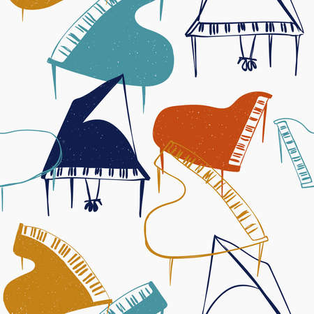 Funny seamless pattern with colorful piano on a white background. Abstract musical print. Illustration