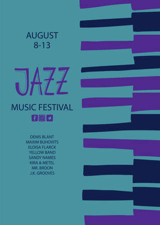 Colorful jazz poster with piano keyboards. Creative musical flyer design template.