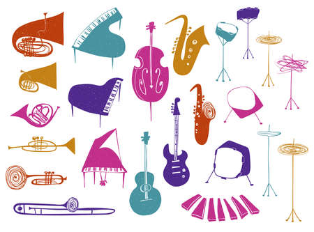 Illustrations of isolated flat wind, strings, percussion music instruments. Colorful musical collection.