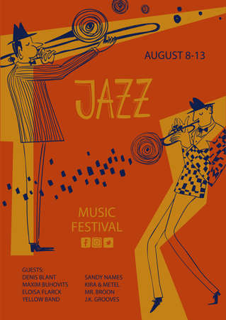 Colorful jazz poster with cartoon trumpet and trombone players. Creative musical flyer design template.