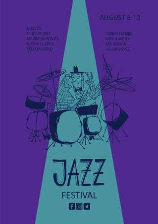 Colorful jazz poster with cartoon funny drummer. Creative musical flyer design template. Illustration