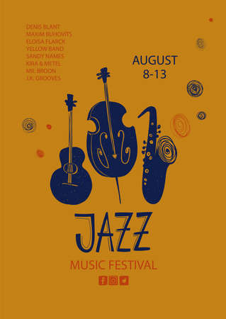 Colorful jazz poster with cartoon guitar, saxophone and double bass instruments. Creative musical flyer design template.