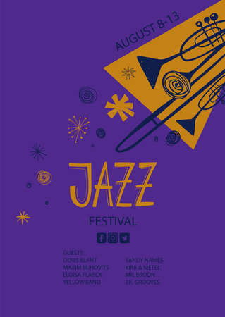 Colorful jazz poster with cartoon trumpets and trombone. Creative musical flyer design template.