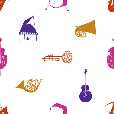 Funny seamless pattern with colorful musical instruments on a white background. Music collection.