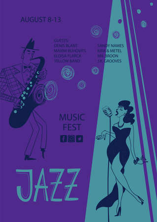 Colorful jazz poster with cartoon woman singer and saxophone player. Creative musical flyer design template. Illustration