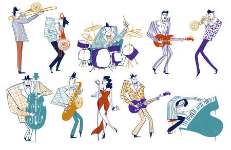 Illustrations with isolated jazz musician characters. Funny colorful musical collection.