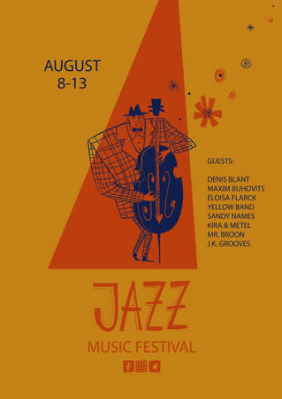 Colorful jazz poster with cartoon double bass player. Creative musical flyer design template. Illustration