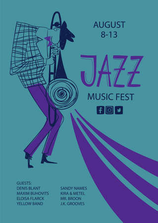 Colorful jazz poster with cartoon trombone player. Creative musical flyer design template.