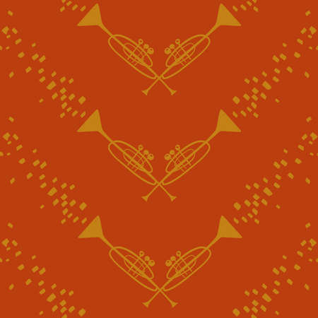 Funny seamless pattern with yellow trumpets on an orange background. Musical collection. Illustration