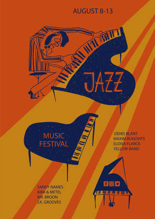 Colorful jazz poster with cartoon piano and pianist. Creative musical flyer design template. Illustration