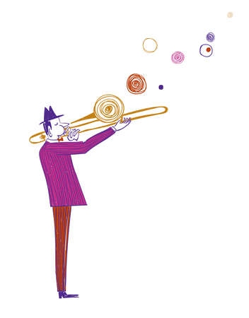 Illustration with funny isolated trombone player in suit. Jazz musician character drawing. Illustration