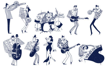 Illustrations with isolated jazz musician characters. Funny mono color musical collection. Illustration