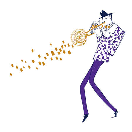 Illustration with isolated trumpet player in suit. Funny jazz musician character drawing.
