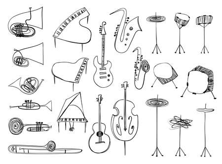 Illustrations of isolated wind, strings, percussion music instruments. Outline drawing musical collection.