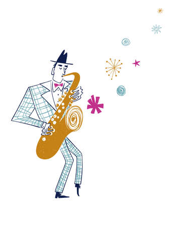 Illustration with funny isolated saxophone player in plaid suit. Jazz musician character drawing.