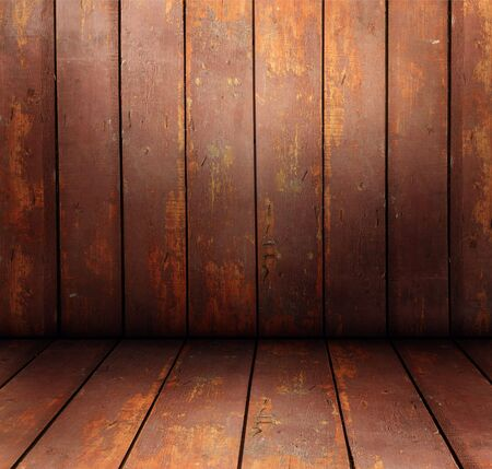 Texture of the old, worn, wooden walls and floor Stock Photo