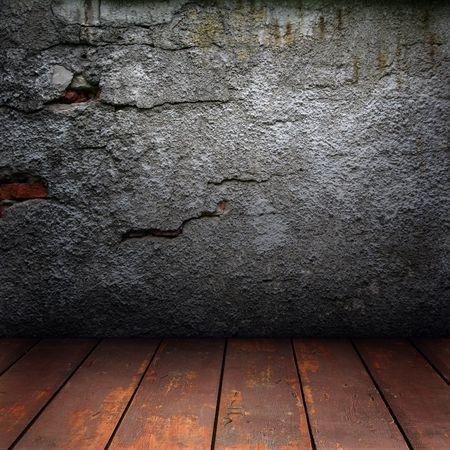 Structuur van de oude, gebarsten muren en houten vloer