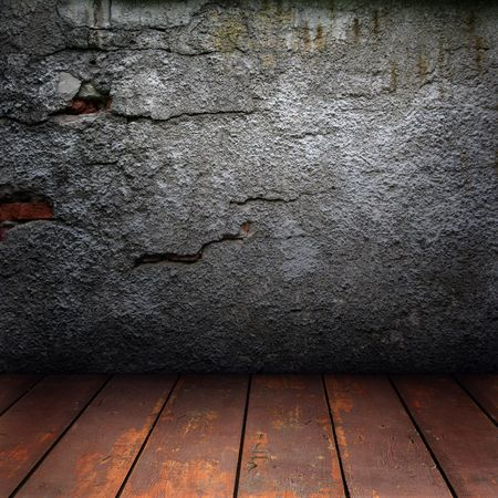 Texture of old, cracked walls and wooden floor